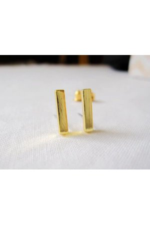 24/7 Jewelry Collection Bar Oorbellen - Oorknopjes - Balkje - Geborsteld - Minimalistisch - Goud