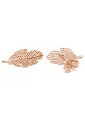 24/7 Jewelry Collection Veer Oorbellen - Blad - Leaf - Stud - Knopjes - Rosé Goud