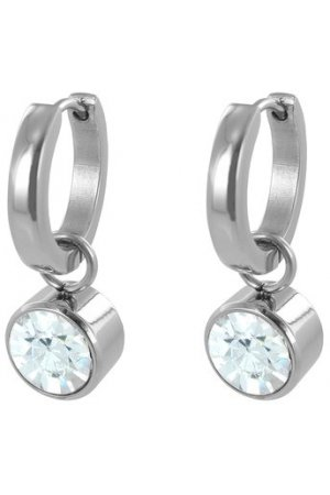 CO88 Collection  8CE-60004 - Stalen Creolen met Kristal Swarovski Element - Geboortesteen April - 17 mm - Zilverkleurig