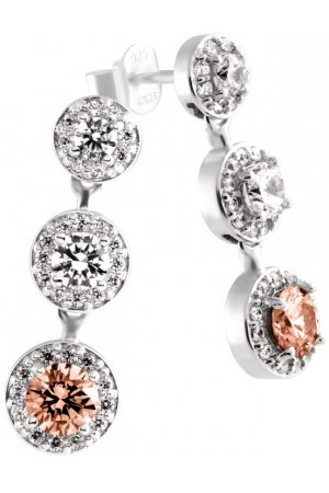 Diamonfire - Zilveren oorhangers Fancy Colors - Zirkonia - Bruin - Entourage