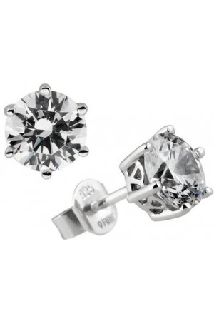 Diamonfire - Zilveren oorknoppen 1.50 ct - 7 mm - Chatonzetting