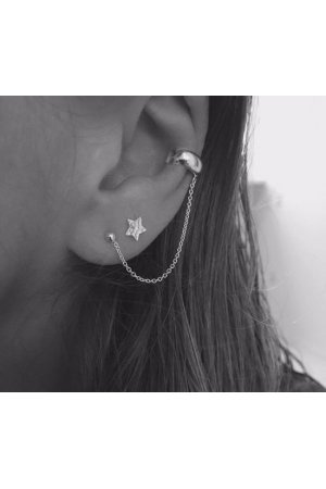 Ear cuff silver with chain