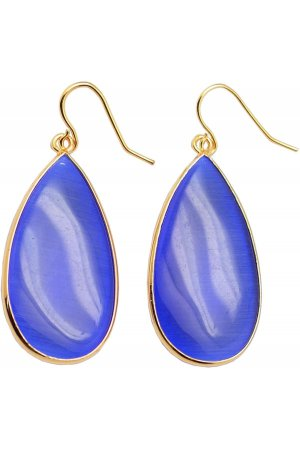 Edelstenen oorbel Big Teardrop Blue Cat's Eye Gold