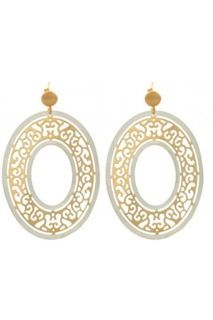 GOLD AND SILVER OVAL FILIGREE HOOPS
