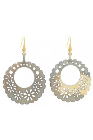 GREY FILIGREE HOOPS GOLD