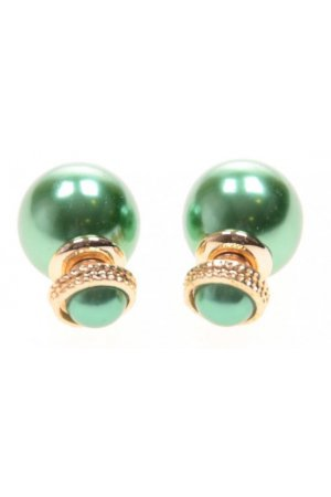 Groene parel double earrings met goudkleurige details.