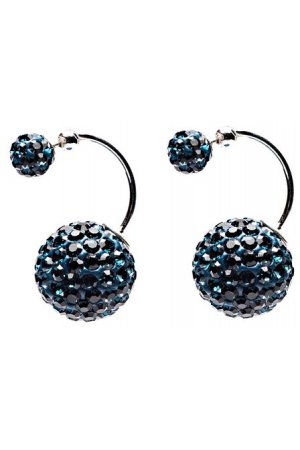 Karma Double Dots Twisted Blue Crystal Oorbellen 11205