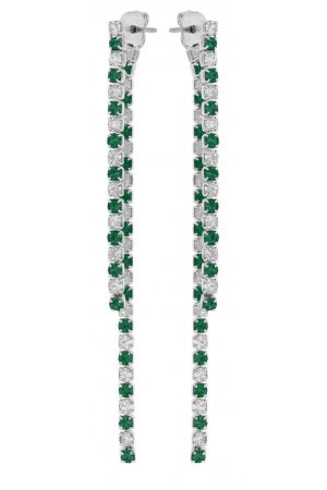 Lucardi - 1920 Vintage - Silverplated oorbellen emerald white crystals