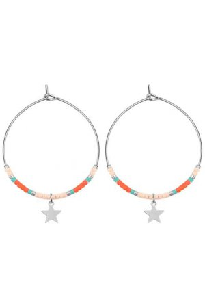 Medium Hoops Star & Beads Licht Roze goud
