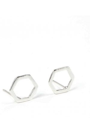 Minimalist silver geometric earrings