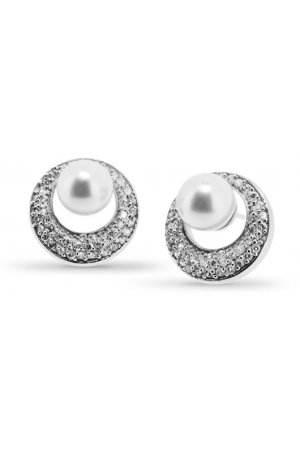 New Bling 921171820 - Zilveren oorstekers - zirkonia en parel 8 mm - zilverkleurig