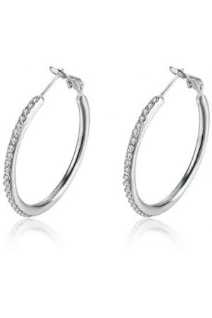 Roxi Creolen/Oorringen Zilverkleurig | Hoop Earrings Silver | 35 x 2 mm - Clipsluiting