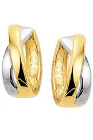 The Jewelry Collection Klapcreolen 4,0 mm - Bicolor Goud