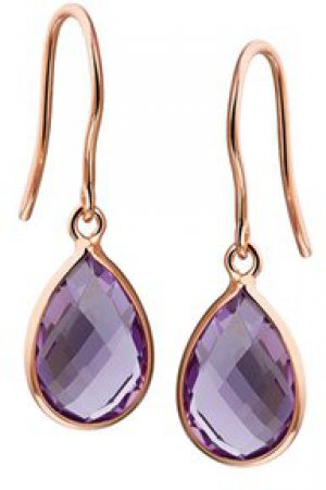 The Jewelry Collection Oorhangers Amethyst - Roségoud