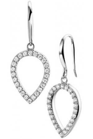 The Jewelry Collection Oorhangers Zirkonia - Zilver Gerhodineerd