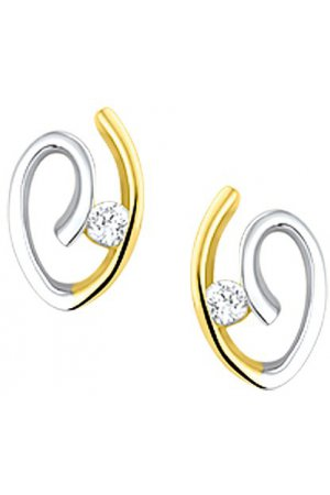 The Jewelry Collection Oorknoppen Zirkonia - Bicolor Goud (14 Krt.)