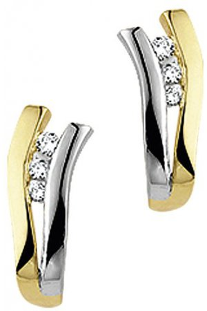 The Jewelry Collection Stekercreolen Diamant 0.082 Ct. - Bicolor Goud