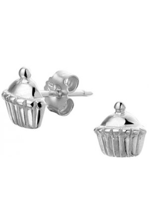 The Kids Jewelry Collection Oorknoppen Cupcakes - Zilver Gerhodineerd