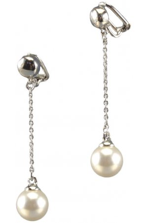 Traveller pareloorclip - hangend - met 10mm Swarovski Crystal parel - #113777