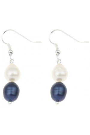 Zoetwater parel oorbel Dangling Blue and White